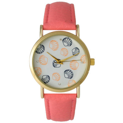 Olivia Pratt Womens Colored Shell Dial Coral Leather Watch 14841Coral