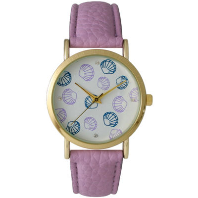 Olivia Pratt Womens Colored Shell Dial Lavender Leather Watch 14841Lavender