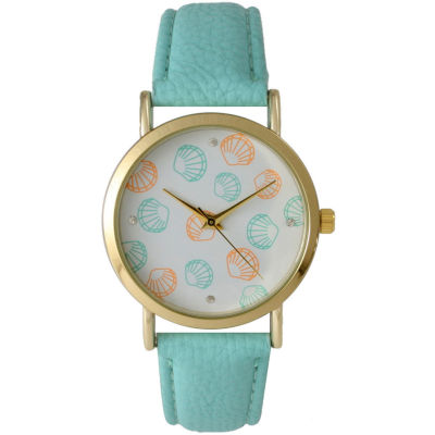 Olivia Pratt Womens Colored Shell Dial Mint Leather Watch 14841Mint