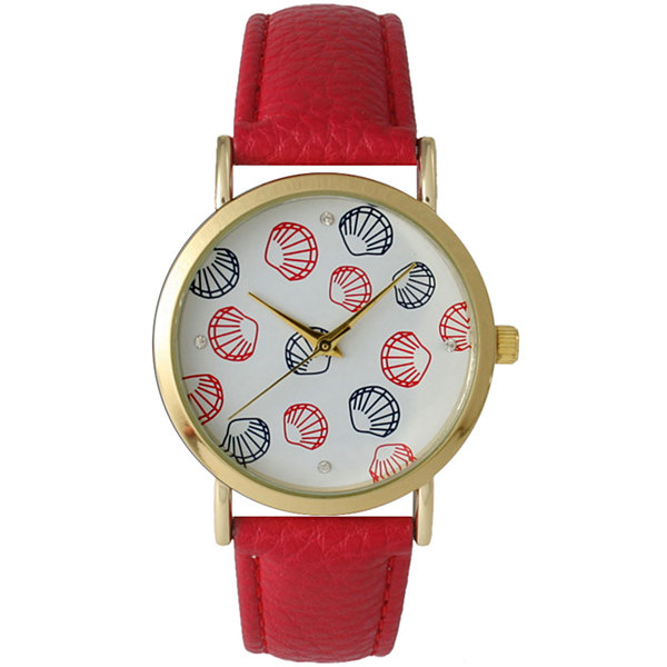 Olivia Pratt Womens Colored Shell Dial Red Leather Watch 14841Red