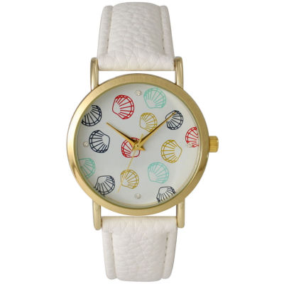Olivia Pratt Womens Colored Shell Dial White Leather Watch 14841White