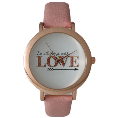 Olivia Pratt Womens 'Do All Things With Love' Dial Rose Pink Leather Watch 26358Rose Pink