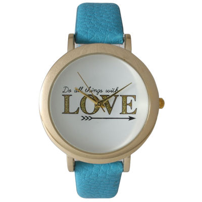 Olivia Pratt Womens 'Do All Things With Love' Dial Turquoise Leather Watch 26358Turquoise