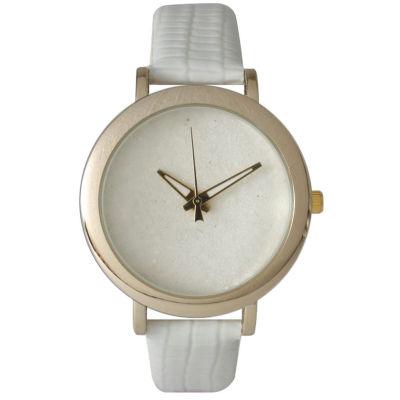 Olivia Pratt Womens Colored Metallic Stone Dial White Leather Watch 26359White