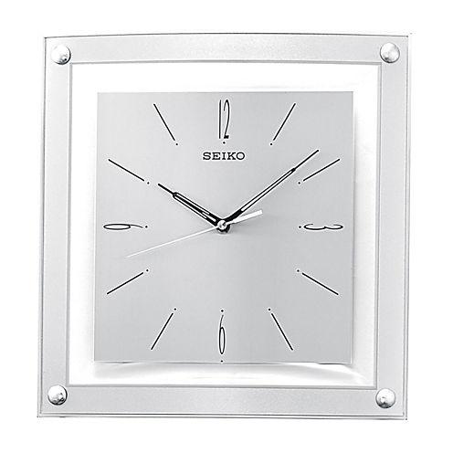 Seiko® Square Silver Wall Clock Qxa330Slh