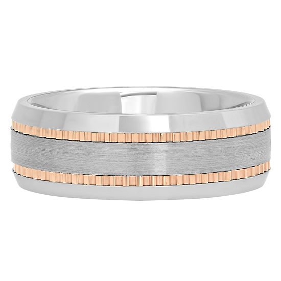 Mens Tungsten Carbide Two Tone Wedding Band