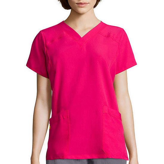 Wonderwink Four Stretch 6214 Womens Short Sleeve Sporty V Neck Top Plus