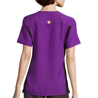 WonderWink® Four-Stretch 6514 Womens Short-Sleeve Mock-Wrap Knit Panel Top - Plus