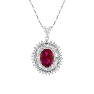 Womens Lab Created Red Ruby Sterling Silver Oval Pendant Necklace