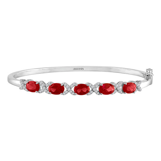 Womens Lab Created Ruby Sterling Silver Bangle Bracelet