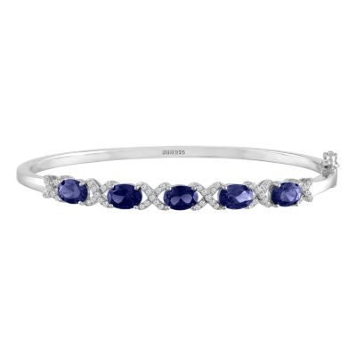 Womens Lab Created Blue Sapphire Sterling Silver Bangle Bracelet