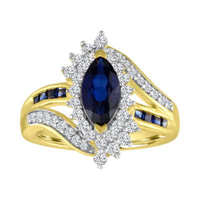 Womens Lab Created Blue Sapphire 14K Gold Over Silver Oval Cocktail Ring