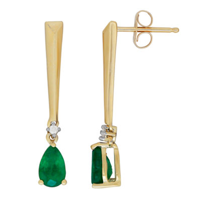 Diamond Accent Genuine Green Emerald 10K Gold Drop Earrings