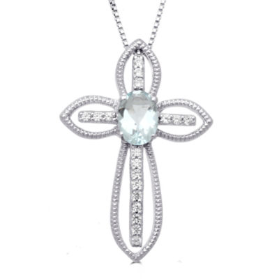 Womens Genuine Aquamarine Sterling Silver Pendant Necklace