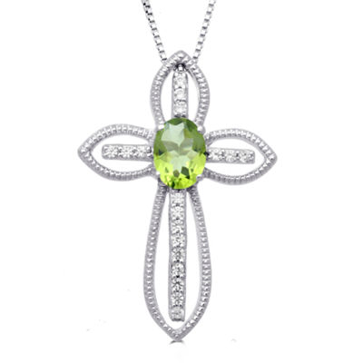 Womens Genuine Green Peridot Sterling Silver Cross Pendant Necklace