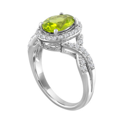 Womens Green Peridot Sterling Silver Cocktail Ring