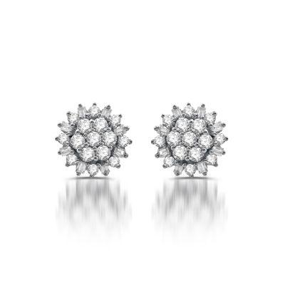 Diamond Blossom 1/2 CT. T.W. Genuine White Diamond 10K Gold 9mm Stud Earrings