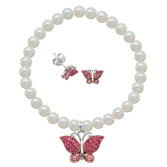 White Cultured Freshwater Pearl Sterling Silver Butterfly 2-pc. Jewelry Set