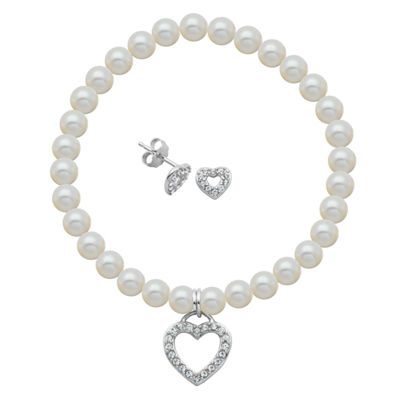 White Cultured Freshwater Pearl Sterling Silver Heart 2-pc. Jewelry Set