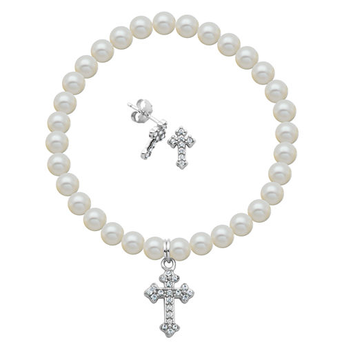Girls 2-pc. White Pearl Sterling Silver Jewelry Set