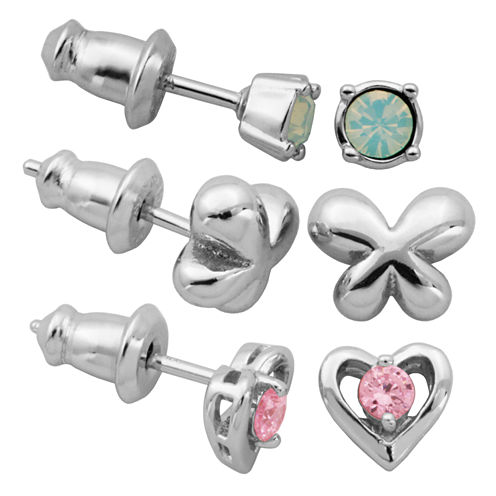 3 Pair Pink Cubic Zirconia Sterling Silver Earring Sets