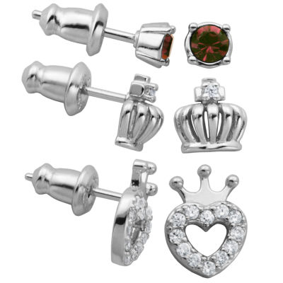 3 Pair Lab Created White Cubic Zirconia Sterling Silver Earring Sets