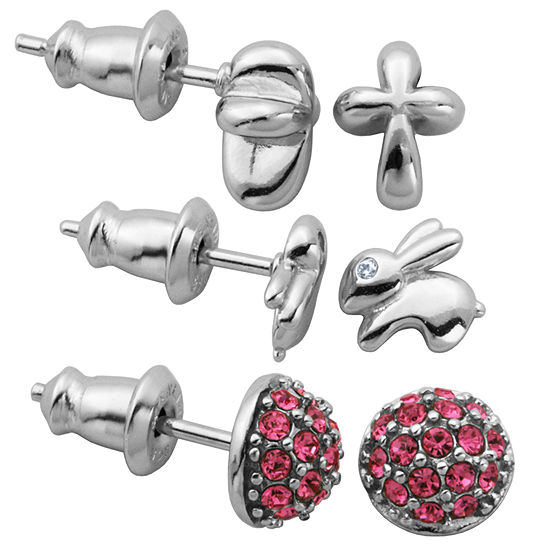 3 Pair Crystal Sterling Silver Earring Sets