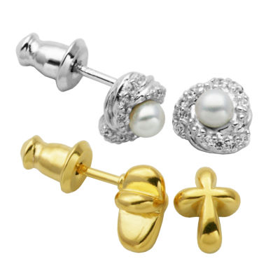 2 Pair White Cultured Freshwater Pearl Earring Set