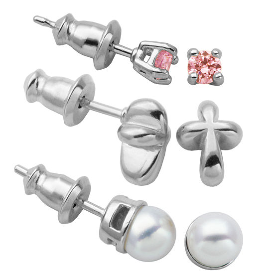 Lab Created Pink Cubic Zirconia Cultured Freshwater Pearl Sterling Silver 3 Pair Earring Set