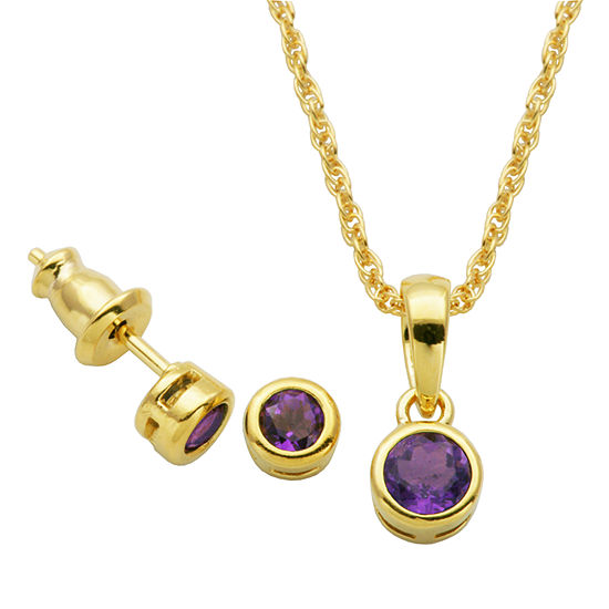 Genuine Purple Amethyst 18K Gold Over Silver 2-pc. Jewelry Set