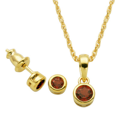 Genuine Red Garnet 18K Gold Over Silver 2-pc. Jewelry Set