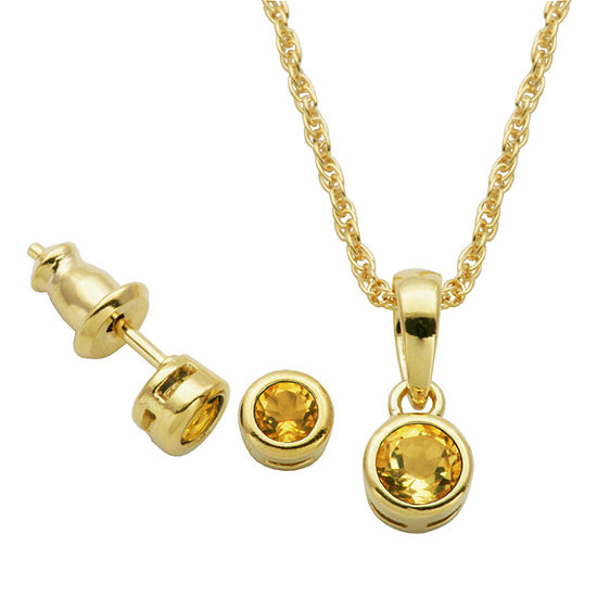 Genuine Yellow Citrine 18K Gold Over Silver 2-pc. Jewelry Set