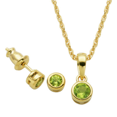 Girls Genuine Green Peridot 18K Gold Over Silver 2-pc. Jewelry Set