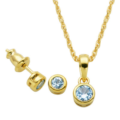 Lab Created Blue Spinel 18K Gold Over Silver 2-pc. Jewelry Set