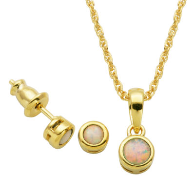 Girls Lab Created White Opal 18K Gold Over Silver 2-pc. Jewelry Set