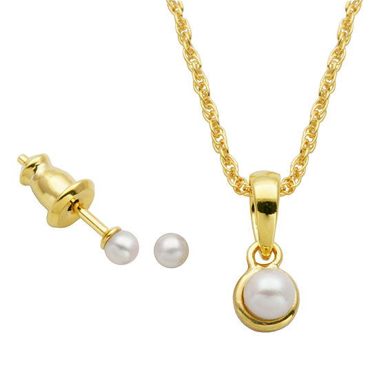 White Cultured Freshwater Pearl 18K Gold Over Silver 2-pc. Jewelry Set