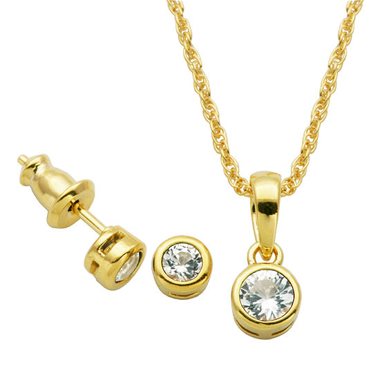 Lab Created White Sapphire 18K Gold Over Silver 2-pc. Jewelry Set