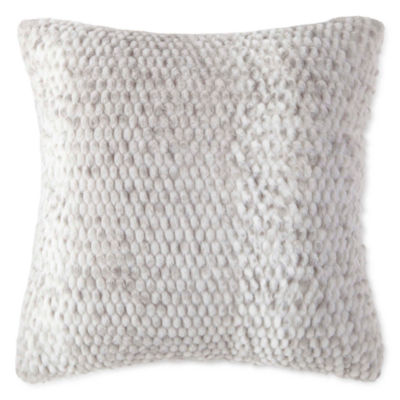 Royal Velvet Serengeti Pebble Faux Fur Square Throw Pillow