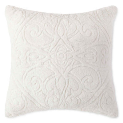 Royal Velvet Embroidered Faux Fur Square Throw Pillow