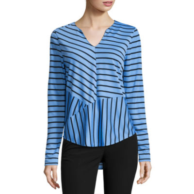 Worthington Long Sleeve V Neck Stripe Top