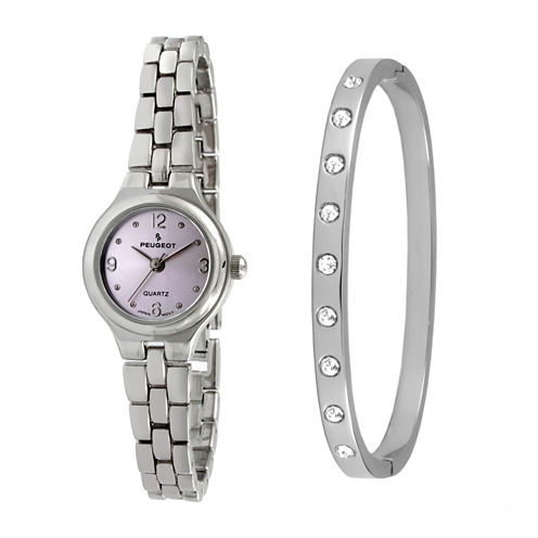 Peugeot Womens Silver Tone 2-pc. Watch Boxed Set-1015pst