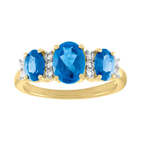 Womens Genuine Blue Topaz Sterling Silver Cocktail Ring