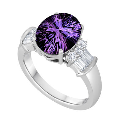 Womens Genuine Purple Amethyst Sterling Silver Oval Cocktail Ring