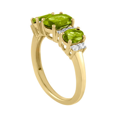 Womens Genuine Green Peridot 14K Gold Over Silver Oval Cocktail Ring