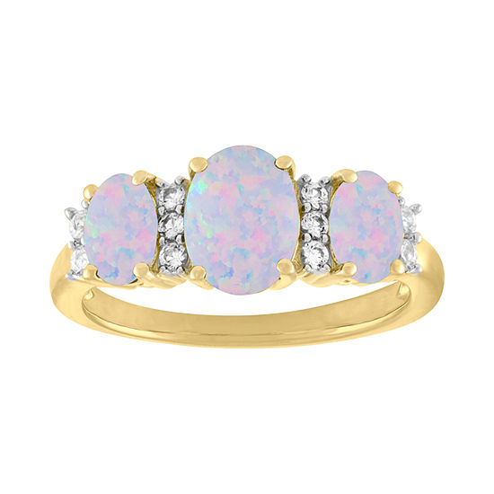 Womens Lab-Created Opal & Lab-Created White Sapphire 14K Gold Over Silver Cocktail Ring