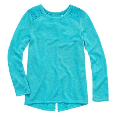 ArizonaLong Sleeve Lace Shoulder Top- Preschool Girls