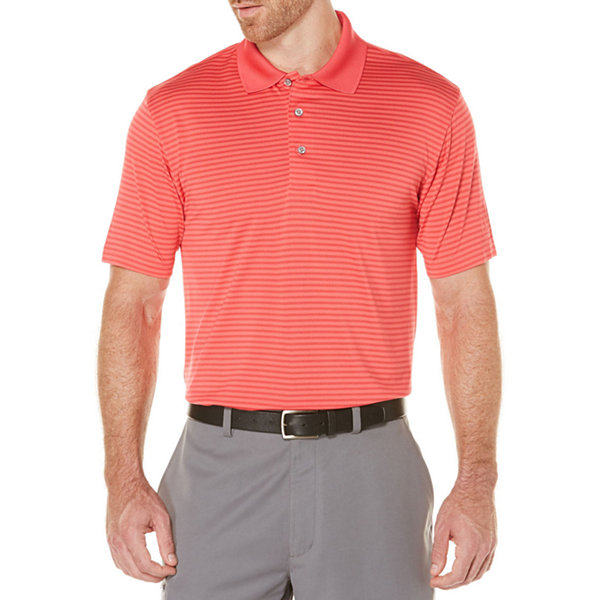 PGA Tour Short Sleeve Stripe Mesh Polo Shirt