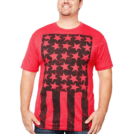 Big and Tall Mens Crew Neck Short Sleeve Americana Graphic T-Shirt