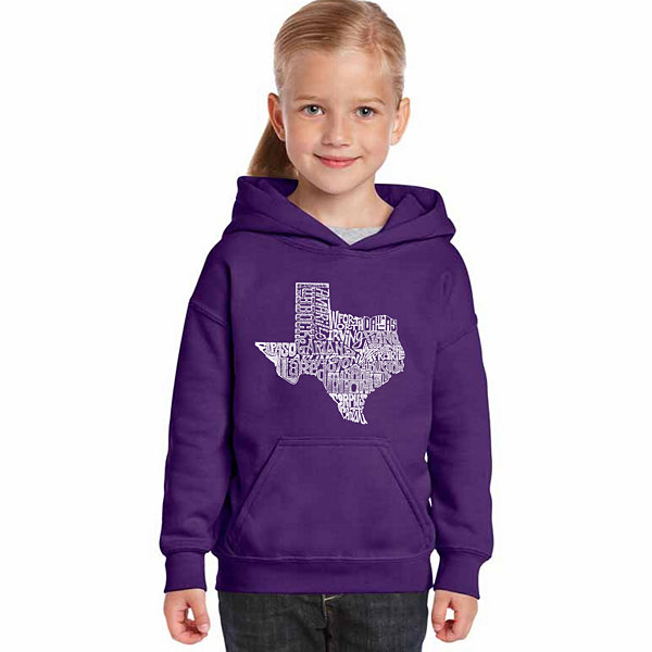Los Angeles Pop Art The Great State Of Texas LongSleeve Girls Word Art Hoodie