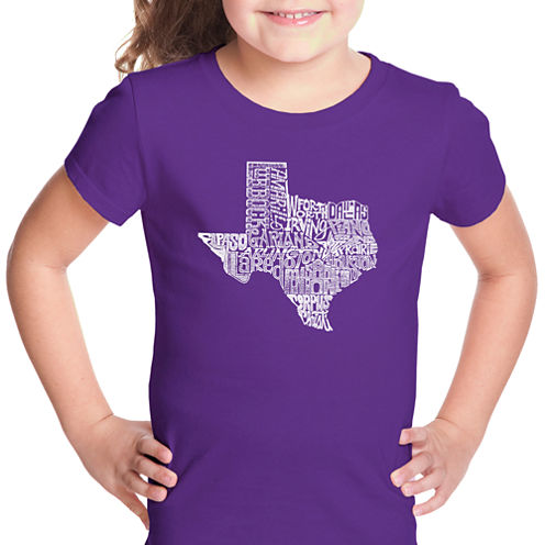 Los Angeles Pop Art The Great State Of Texas Short Sleeve Graphic T-Shirt Girls